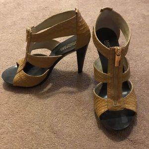 Black and Tan Textured Michael Kors Heels